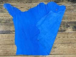 Recto verso demi peau de cuir de veau grain façon serpent bleu cyan - maroquinerie - Cuirenstock