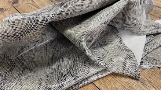 Souplesse demi peau de cuir de veau façon grain serpent beige - maroquinerie - Cuirenstock