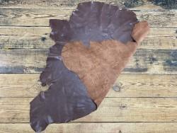 Recto verso peau de cuir de buffle marron - maroquinerie - cuir en stock