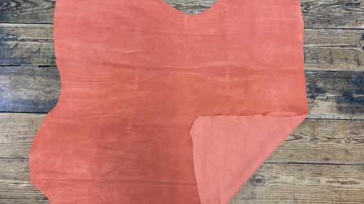 Endroit envers peau de veau velours - touché doux - orange pêche - ameublement - maroquinerie - cuir en stock