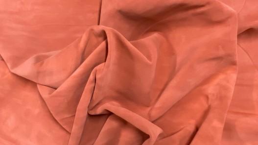 Souplesse peau de veau velours - touché doux - orange pêche - ameublement - maroquinerie - Cuirenstock