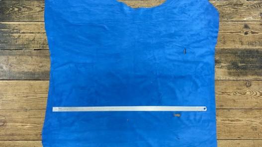 Peau de veau velours bleu - maroquinerie - ameublement - Cuir en Stock