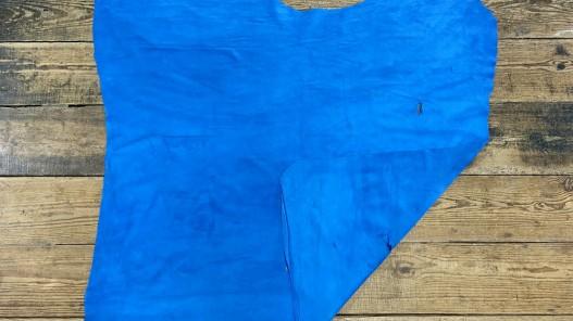 Recto verso peau de veau velours bleu - maroquinerie - ameublement - cuir en stock