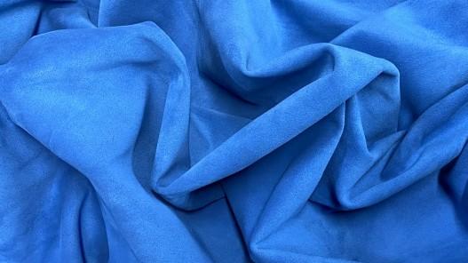 Souplesse peau de veau velours bleu - maroquinerie - ameublement - Cuirenstock