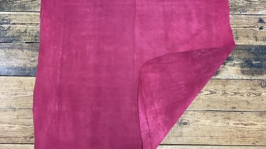 Recto verso peau de veau velours framboise - maroquinerie - ameublement - cuir en stock