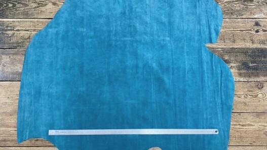 Peau de veau velours bleu vert canard - maroquinerie - ameublement - Cuir en Stock