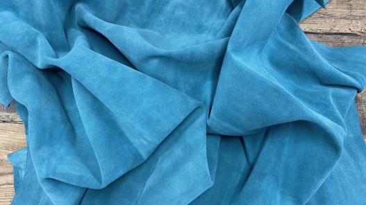Souplesse peau de veau velours bleu vert canard - maroquinerie - ameublement - Cuirenstock