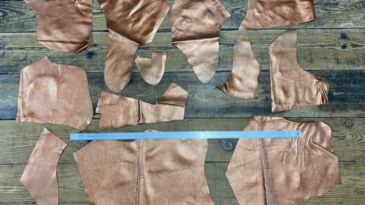 Chutes de cuir de veau métallisé cuivre - maroquinerie - Cuirenstock
