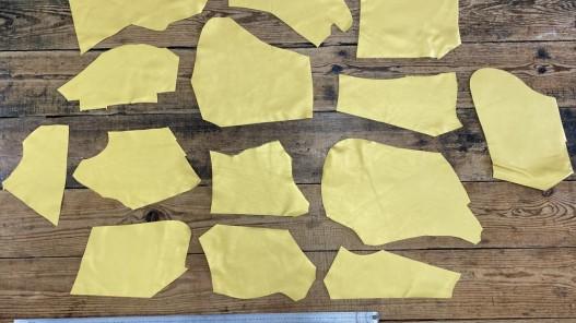 Chutes de cuir de veau métallisé jaune or - maroquinerie - Cuirenstock