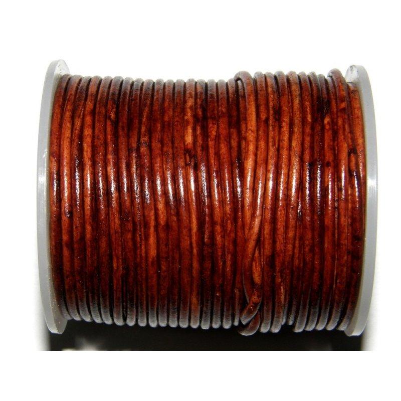 taille 7 remise spéciale plus de photos Lacet cuir rond antique brun accessoires