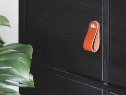 Poignée en cuir noir vieilli sur mesure pour customiser et personnaliser meuble design et tiroirs - Cuir en Stock
