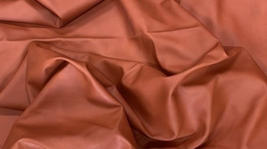 Peau entière - cuir de vache ameublement ou sellerie automobile - orange brique - fin de série - Cuir en stock