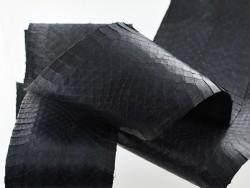 Cuir exotique vente peau de serpent noir mat - Cuir en Stock