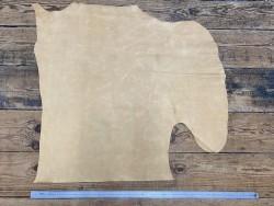 Grand morceau de cuir de veau ciré pullup jaune pastel - maroquinerie - Cuir en Stock