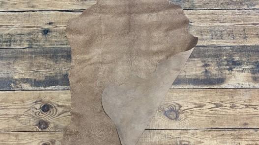Recto verso peau cuir grain façon serpent brun pailleté bronze - maroquinerie - cuirenstock