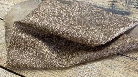 Souplesse peau cuir de chèvre grain façon serpent brun pailleté bronze - maroquinerie - Cuirenstock