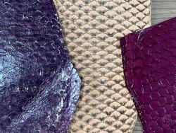 Lot de peaux de cuir de poisson tilapia - rose mauve - soldes - bijou - accessoire - incrustation - Cuir en stock