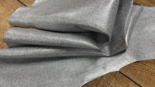 Souplesse cuir grain spider gris métallisé argent - maroquinerie - Cuir en Stock
