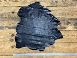 Peau de cuir de mouton satiné noir - maroquinerie - Cuir en Stock