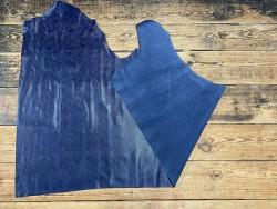 Recto verso pemi peau de cuir de veau grain façon serpent - bleu marine - maroquinerie - cuirenstock