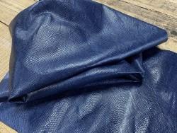 Souplesse peau de cuir de veau grain façon serpent - bleu marine - maroquinerie - Cuirenstock