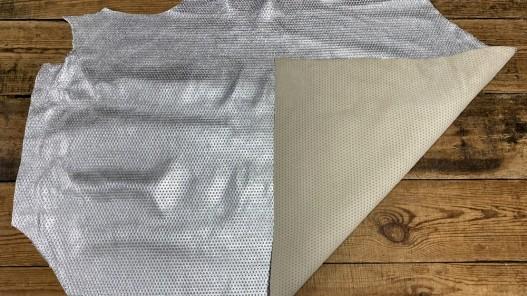 Recto verso peau de cuir de veau effet clouté métallisé argent - maroquinerie - cuirenstock
