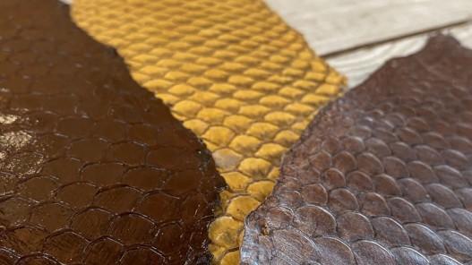 Lot peaux cuir de poisson tilapia - camaïeu de marron - soldes - bijou - accessoire - incrustation - Cuirenstock