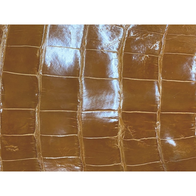 Cuir de crocodile véritable brun caramel satiné maroquinerie bijoux Cuir en Stock