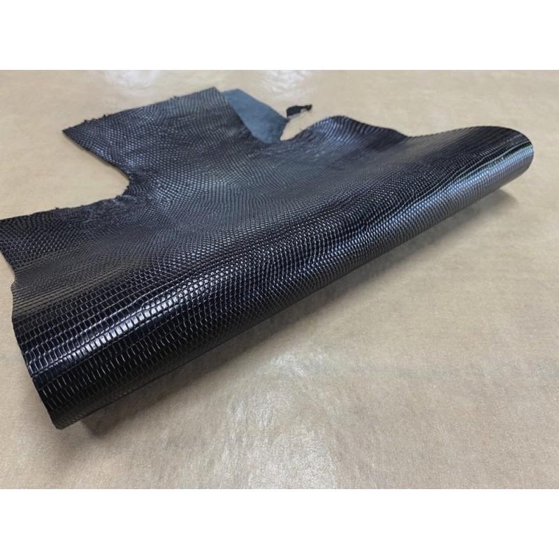 Grande peau de cuir de lézard noir mat - petite maroquinerie - bijou - accessoire - Cuir en Stock