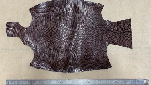 Grande peau de cuir de lézard marron mat - petite maroquinerie - bijou - accessoire - Cuir en stock