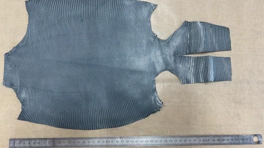 Grande peau de cuir de lézard gris mat - petite maroquinerie - bijou - accessoire - Cuir en stock