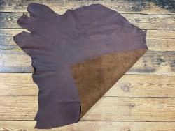 Recto verso morceau de cuir gras - vachette marron pullup - maroquinerie - cuir en stock