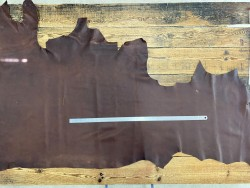 Demi-peau de cuir de vachette - cuir gras marron - pullup ciré - maroquinerie - Cuir en Stock
