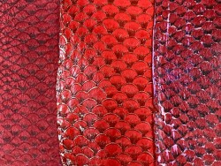 Lot de peaux de cuir de poisson tilapia - camaïeu de rouge - soldes - bijou - accessoire - incrustation - Cuir en stock