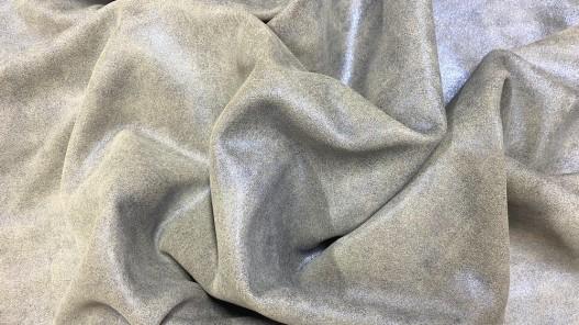 Peau veau velours pailleté beige métallisé bleu Cuir en Stock