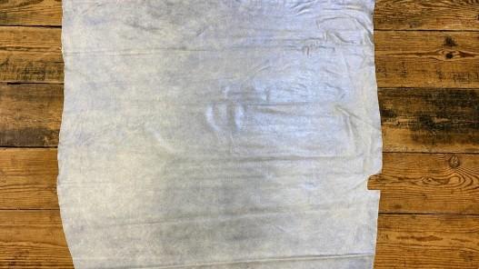 Peau veau velours beige pailleté métallisé bleu Cuir en stock