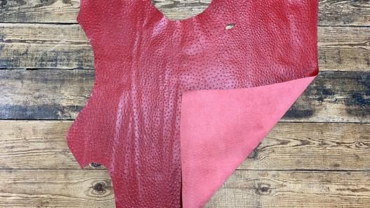 Recto verso peau de cuir de veau grain façon autruche - rouge - maroquinerie - cuirenstock