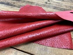 Souplesse peau de cuir de veau grain façon autruche - rouge - maroquinerie - Cuirenstock