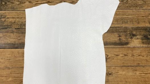 Demi peau de cuir de veau grain façon autruche - blanc - maroquinerie - Cuir en Stock
