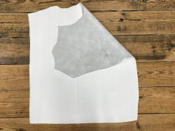 Recto verso peau de cuir de veau grain façon autruche - blanc - maroquinerie - cuirenstock