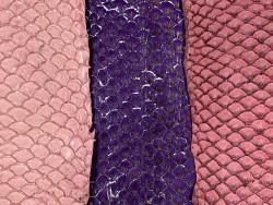 Lot peau cuir poisson tilapia - camaïeu de rose - bijou - accessoire - incrustation - Cuir en stock