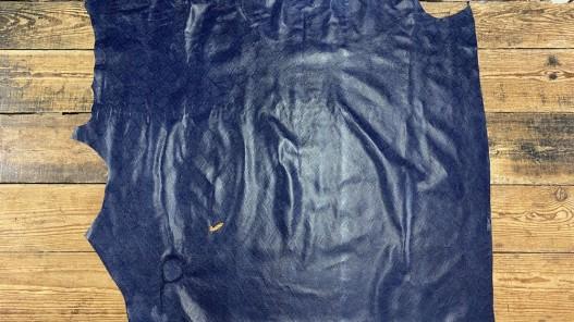 Demi peau de cuir de veau grain façon serpent - bleu marine - maroquinerie - Cuir en Stock
