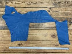 Morceau de cuir de taurillon togo - bleu pétrole - maroquinerie - Cuir en stock