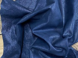 Peau de cuir d'agneau métallisé pailleté bleu nuit - Cuir en Stock