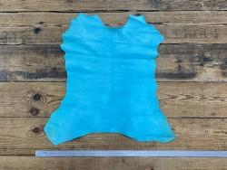 Peau de chèvre velours bleu turquoise - maroquinerie - chaussure - Cuir en Stock