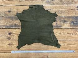 Peau de chèvre velours vert kaki - maroquinerie - chaussure - Cuir en Stock