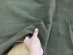 Détail peau de chèvre velours vert kaki - maroquinerie - chaussure - Cuir en stock
