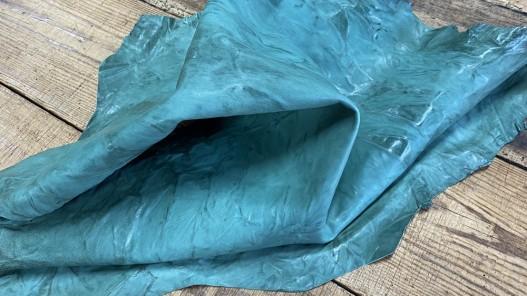 Souplesse peau de cuir de chèvre effet froissé couleur vert menthe - Cuir en Stock