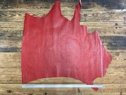 Demi peau de cuir de veau grain façon autruche - rouge - maroquinerie - Cuir en Stock
