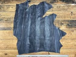 Demi peau de cuir de veau grain façon lézard gris - maroquinerie - Cuir en Stock